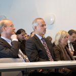 JGU Vice President Prof. Ulrich Förstermann, JGU President Prof. Georg Krausch, and State Minister of Education and Science Doris Ahnen (Foto: Peter Pulkowski)